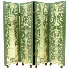 Rare Four Panel Folding Screen by Piero Fornasetti