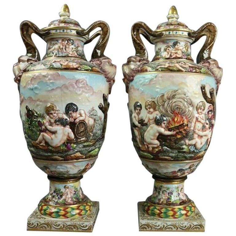 Pair Of Italian Capodimonte Lidded Hand Painted Porcelain Urns 19th