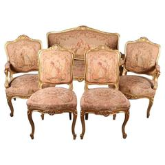 French Louis XIV Style Original Tapestry Gold Gilt Parlor Set, Late 19th Century