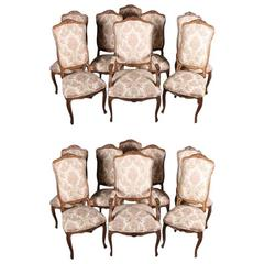 Large Set of 16 French Louis XV Walnut Upholstered Chairs, Early 20th Century