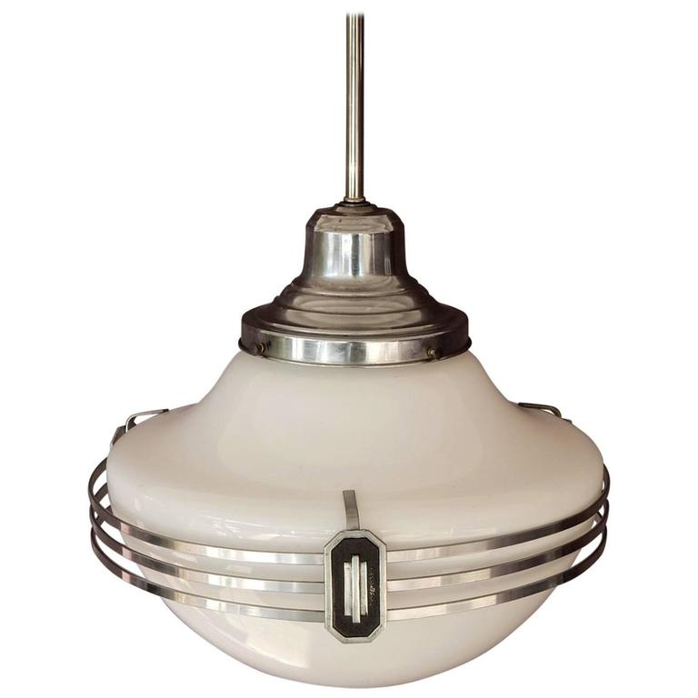 1930s Art Deco Nickel Saturn Ring and Milk Glass Pendant Lamp, Four