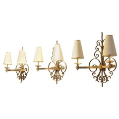 Three Art Deco René Drouet Style Sculptural Full Brass Wall Sconces Lamps, Set