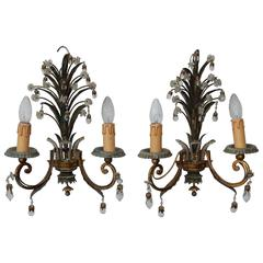 1950-1970 Pair of Sconces with Pineapple Leaves in the Style of Maison Baguès