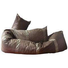 1960, Hans Roebers, Original Snake Couch in Beautiful Soft Brown Leather