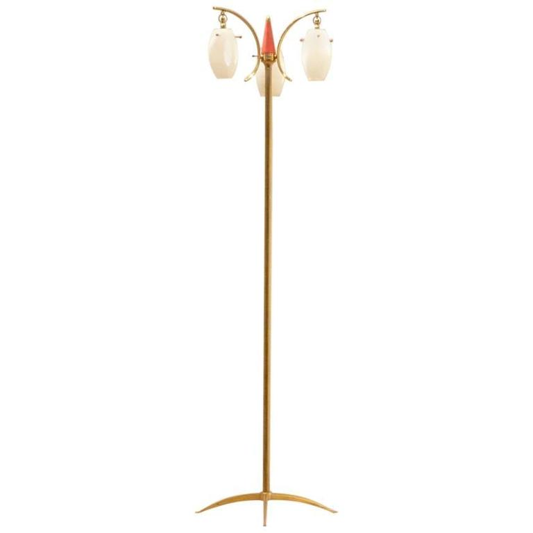 Mid-Century Italian Design, Suspended Opaline Glass and Brass Floor Lamp For Sale
