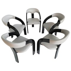 Set of Black Lacquered Armchairs, 1960s