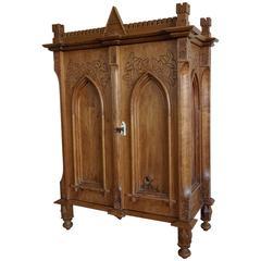 Antique Gothic Revival Hand-Carved Castle Shape Miniature Cabinet