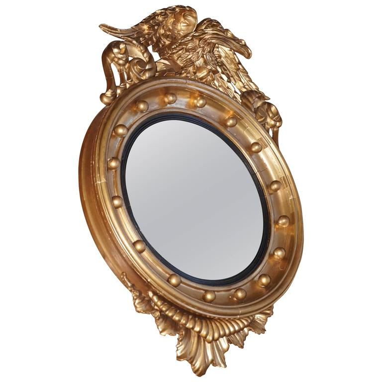 19th century gilt federal style convex mirror or butler for Convex mirror for home