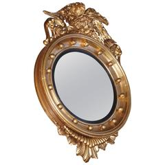 19th Century Gilt Federal Style Convex Mirror or Butler Mirror with Carved Eagle