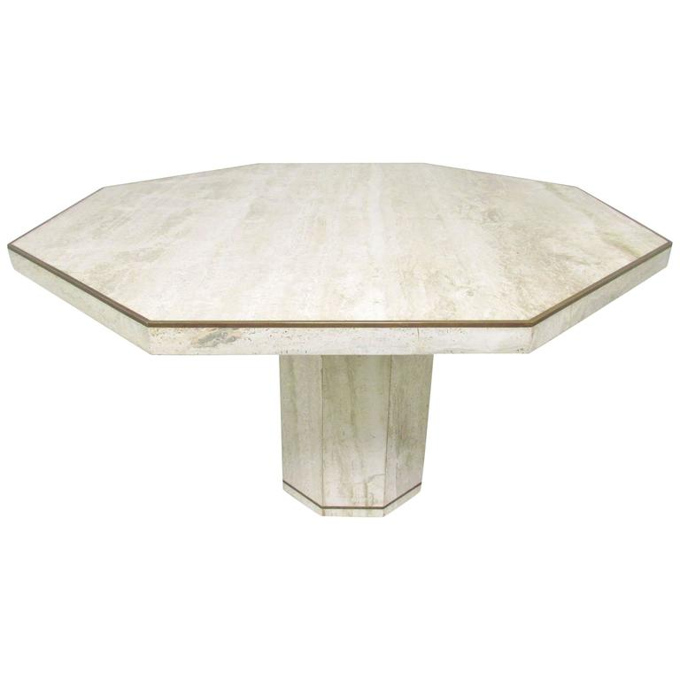 Italian Travertine Marble Octagonal Dining Table By Roche
