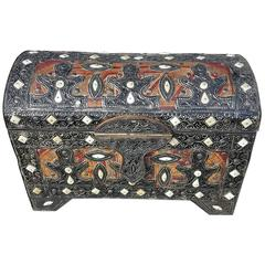 Moroccan Camel Bone and Leather Trunk