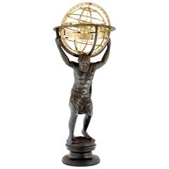 Antique Bronze Sculpture Atlas with Globe in Brass Finish on Marble Base