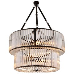 Round Double Chandelier Gunmetal and Clear Glass