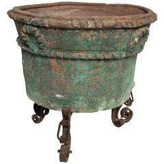 Large Painted Terra Cotta Planter with a Wrought Iron Stand