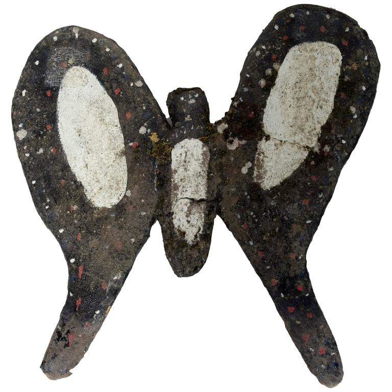 Black painted cement butterfly garden ornament for sale at 1stdibs - Cement cloth garden ornaments ...