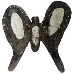 Black Painted Cement Butterfly Garden Ornament