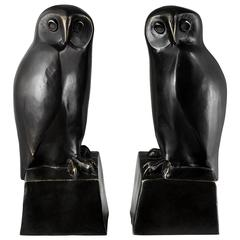 Owl Set of Two Book End in Solid Bronze Patina