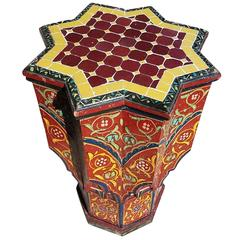 Maura All Painted Moroccan Side Table, Mosaic Top