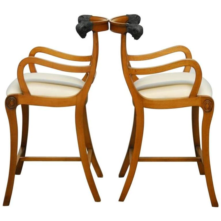 Pair of Italian Klismos Style Bar Stools with Rams Heads 1