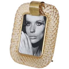 Venini 'Torciglione' Clear Amber Glass Photo Frame
