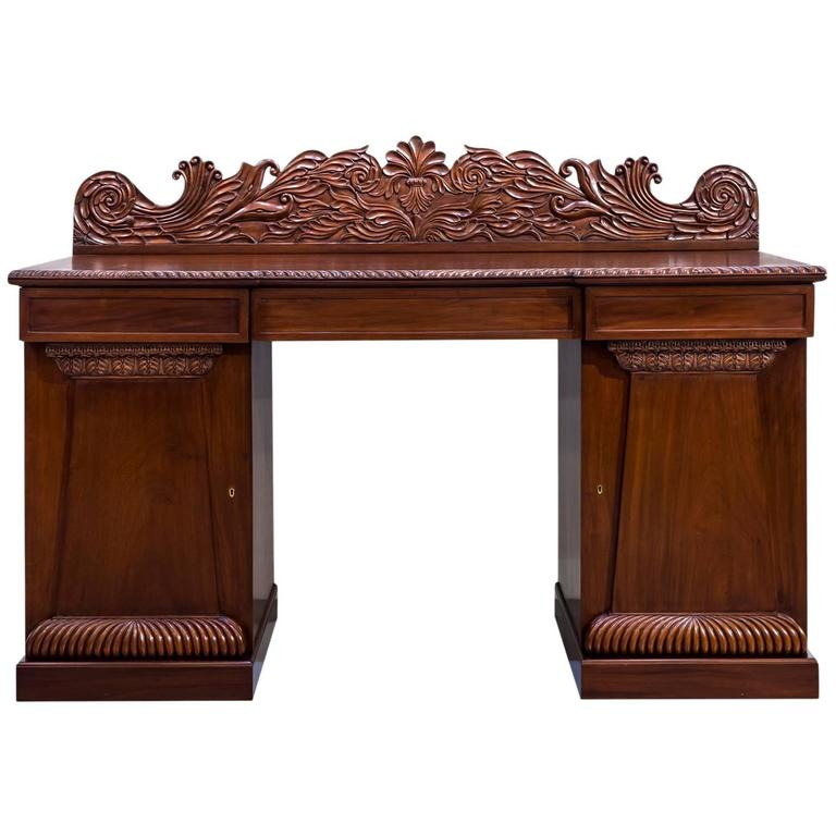 Antique Anglo Indian Or British Colonial Mahogany Pedestal Sideboard For Sale At 1stdibs