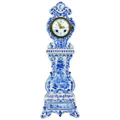 Charming 19th Century Delft Style Miniature Blue and White Porcelain Tall Clock