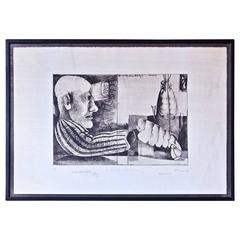 """Man with Lobster"" Framed Intaglio Etching by Inanger, Munich, 1973"