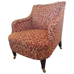 Classic George Smith Upholstered Armchair in India Flower Fabric