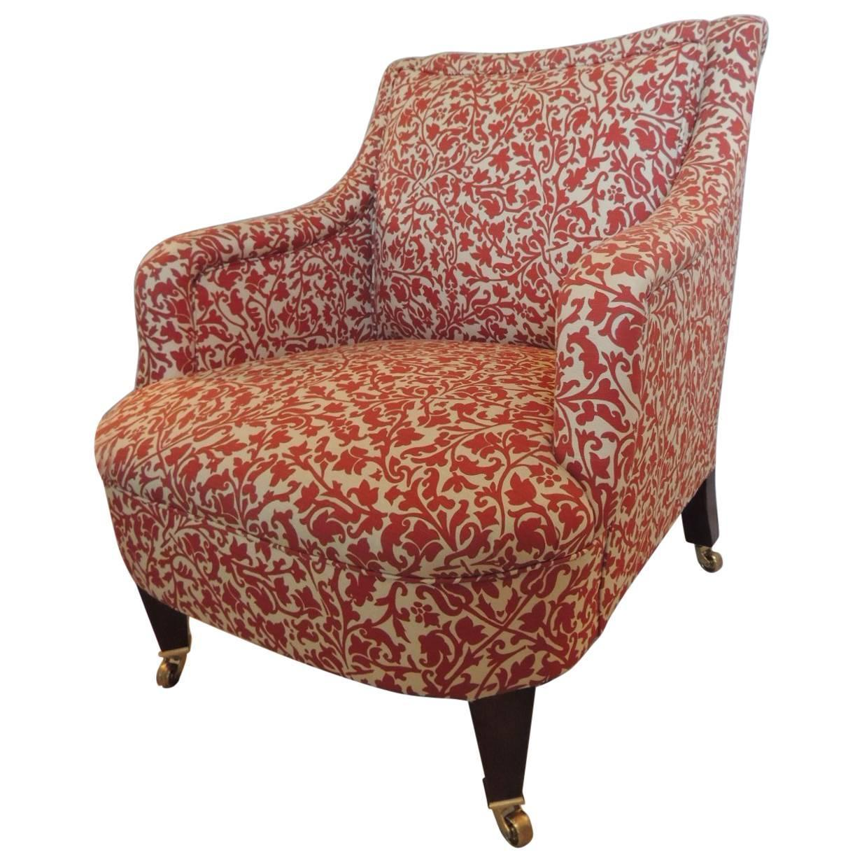 Classic George Smith Upholstered Armchair In India Flower Fabric At 1stdibs