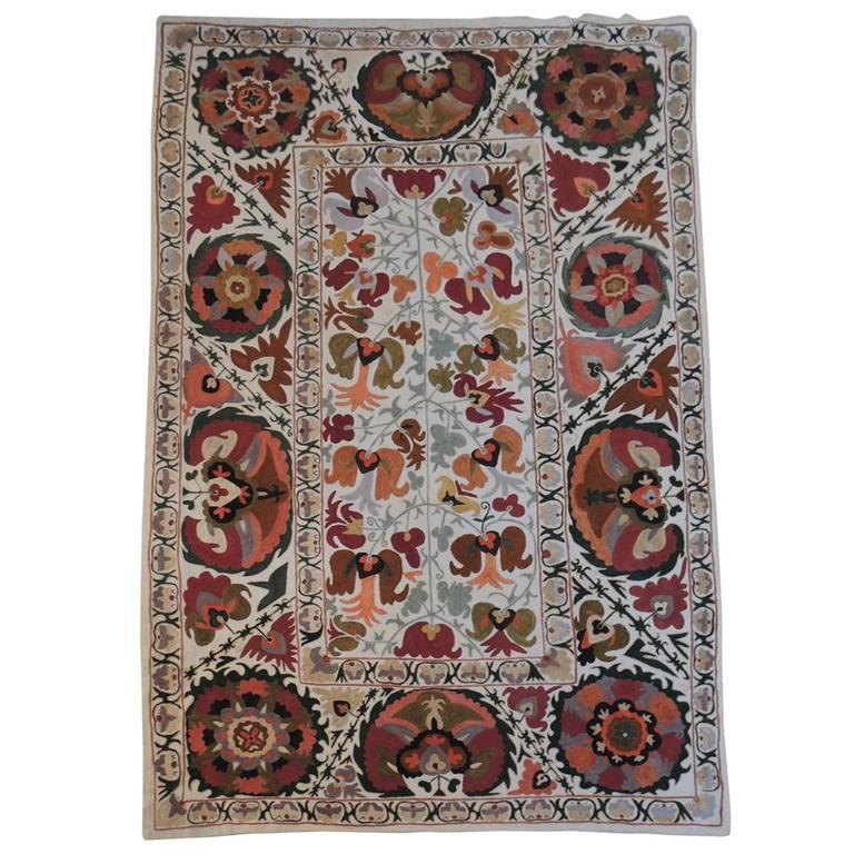 Vintage Uzbekistan Embroidery Suzani Textile Panel