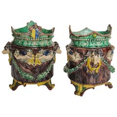 Pair of Antique French Majolica Cache Pots, Rams & Cherubs