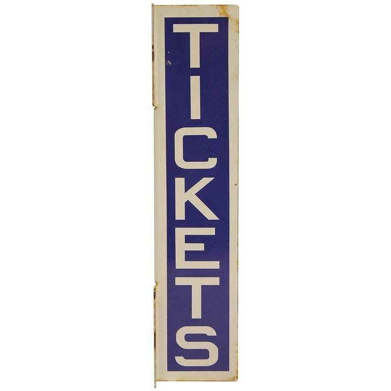 1930s Double Sided Tickets Porcelain Sign