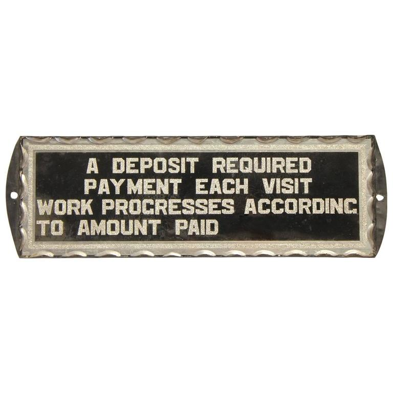 "1930's Reverse Painted Glass Sign ""Deposit Required"""