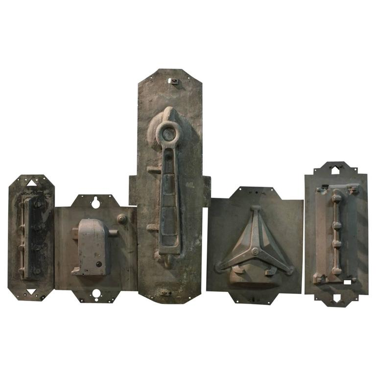 Collection of Five Large Antique Industrial Metal Molds