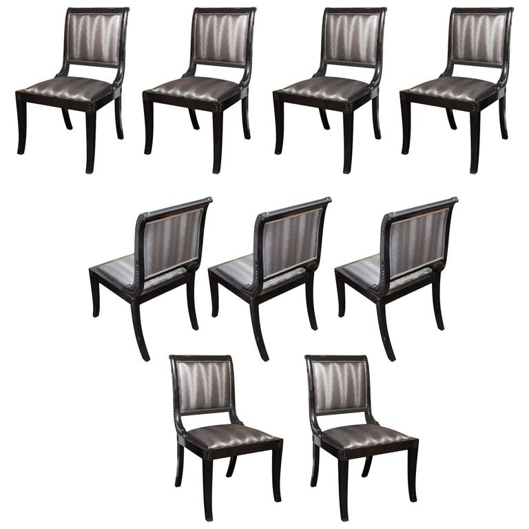 Set of nine sleigh back regency dining chairs upholstered for Upholstered dining chairs for sale