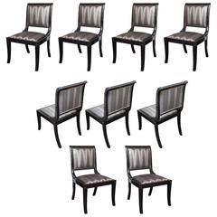 Set of Nine Sleigh Back Regency Dining Chairs Upholstered in Kravet Fabric
