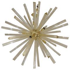 Italian Gold Infused 37 Inch Diameter Murano Glass Sputnik Chandelier