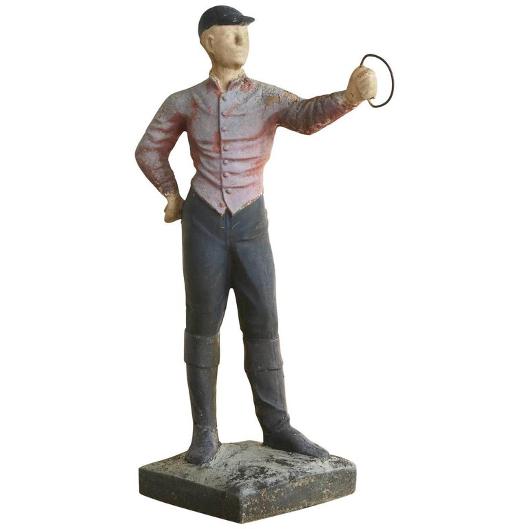 1910 Conors Mack Co. Concrete and Detailed Lawn Jockey with Distressed Patina For Sale