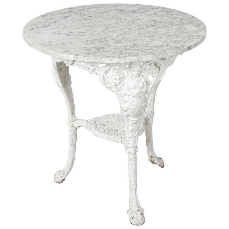 19th century english iron pub table bistro table garden table with marble top 1