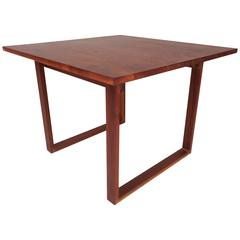 Mid-Century Modern Walnut Side Table with Sled Legs