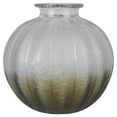 French Art Deco Frosted and Etched Globular Art Glass Vase by Charles Schneider