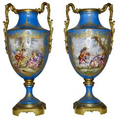 19th Century Sevre Urns Painted by E.F. Roger