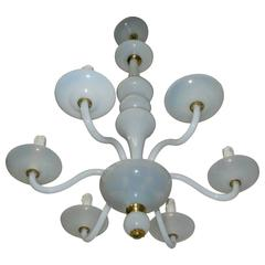 1960s Opaline Glass Chandelier