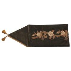 Arts & Craft Green Velvet Table Runner with Gold Tassels