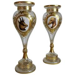 Late 19th Century Bohemian Vases with Animal Vignettes