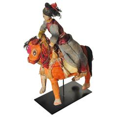 Chinese Folk Art Woman with Horse, Handcrafted from Assorted Trims and Textiles