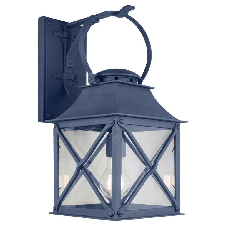 Classic Coastal Wrought Iron Light Lantern with Premium Dark Zinc Finish For Sale