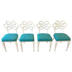 Mid-Century Modern Hollywood Regency four Dining Chairs in Aqua Sunbrella