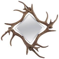 Contemporary Modern Faux Deer Antler Wall Mirror
