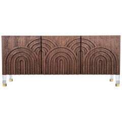 Art Deco Style Walnut Arches Credenza w/ Arch Detail and Lucite & Brass Legs